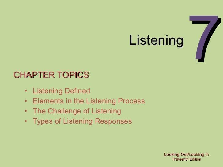 Listening CHAPTER TOPICS <ul><li>Listening Defined </li></ul><ul><li>Elements in the Listening Process </li></ul><ul><li>T...