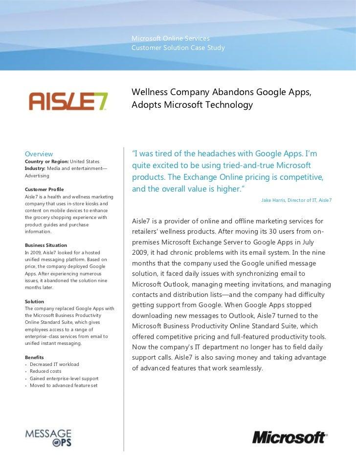 Wellness Company Aisle7 Abandons Google Apps & Adopts Microsoft Technology