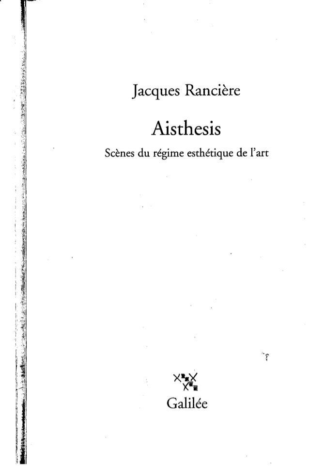 ranciere aisthesis translation Translation studies seth stewart williams studies the interrelation of dance and literature review essay: jacques rancière, aisthesis.
