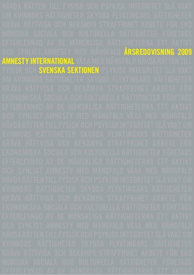 Amnesty International Svenska sektionens Årsredovisning 2009