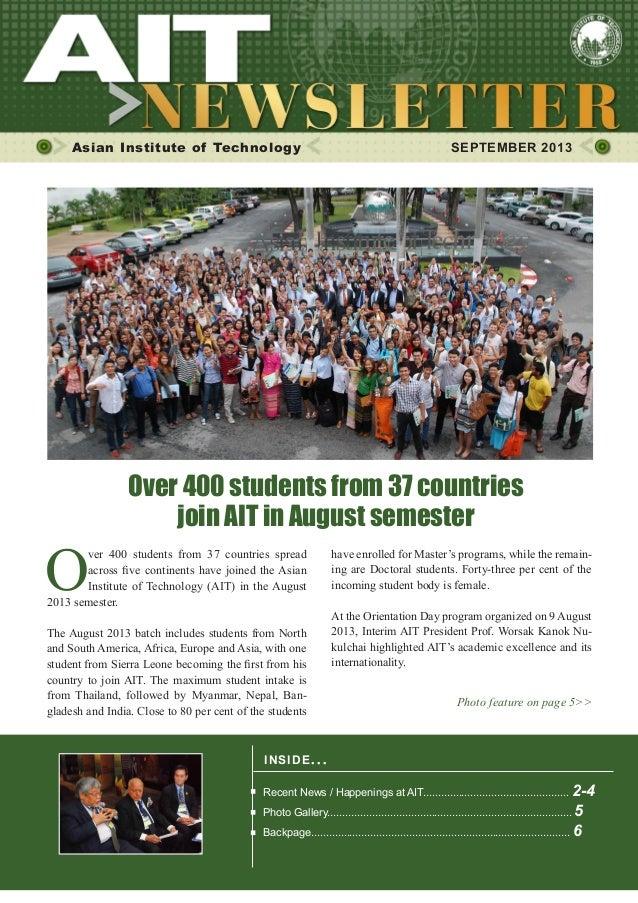 1SEPTEMBER 2013 Asian Institute of Technology SEPTEMBER 2013 INSIDE ISSUE.. . Recent News / Happenings at AIT................