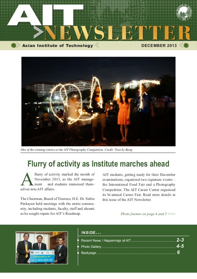 1  DECEMBER 2013  Asian Institute of Technology    DECEMBER 2013  One of the winning entries at the AIT Photography Compe...