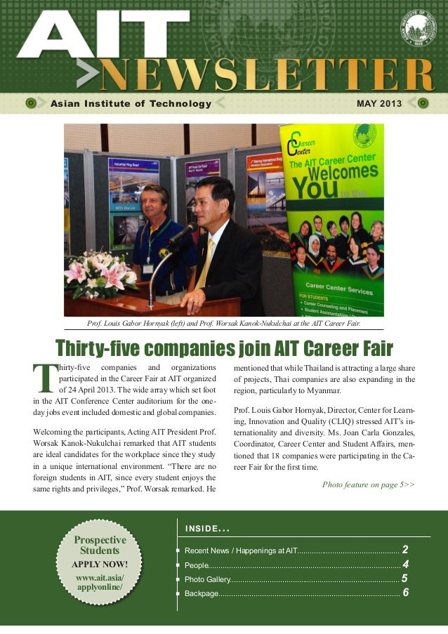 1MAY 2013Asian Institute of Technology MAY 2013INSIDE ISSUE.. .Recent News / Happenings at AIT...............................