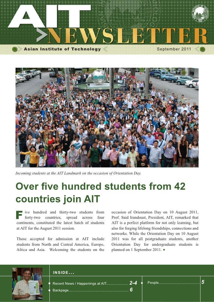 Asian Institute of Technology                                                                     September 2011Incoming s...
