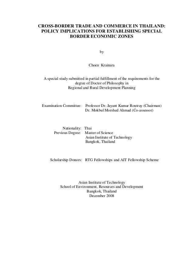 Special Study on Cross Border Trade and Commerce in Thailand : Policy Implications for Establishing Special Border Economic Zones