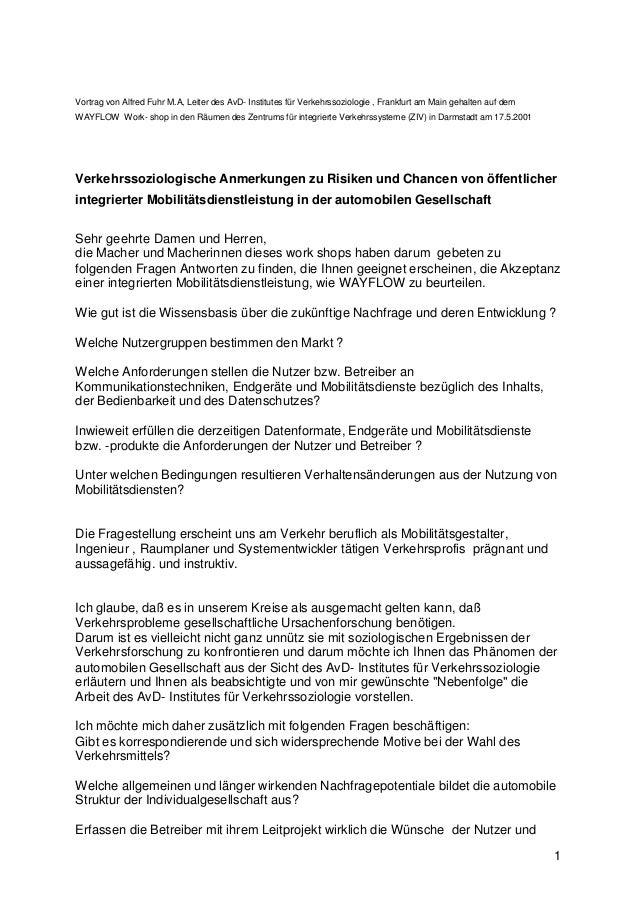 1 Vortrag von Alfred Fuhr M.A, Leiter des AvD- Institutes für Verkehrssoziologie , Frankfurt am Main gehalten auf dem WAYF...