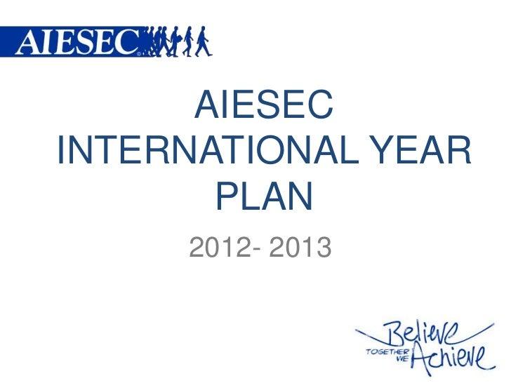 AIESECINTERNATIONAL YEAR       PLAN     2012- 2013