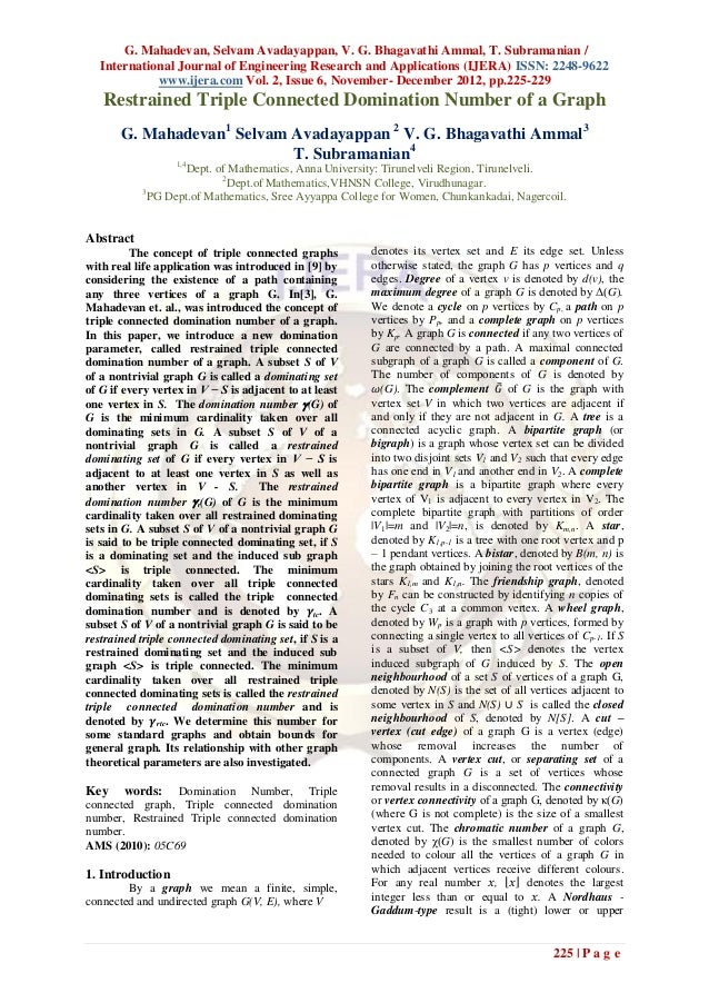 G. Mahadevan, Selvam Avadayappan, V. G. Bhagavathi Ammal, T. Subramanian /   International Journal of Engineering Research...