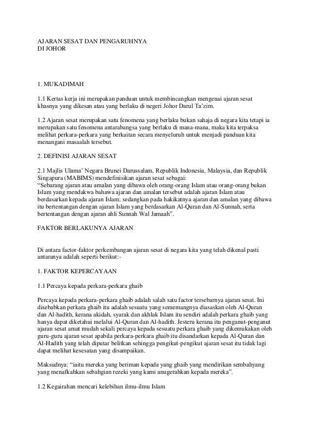 AJARAN SESAT DAN PENGARUHNYA DI JOHOR 1. MUKADIMAH 1.1 Kertas kerja ini merupakan panduan untuk membincangkan mengenai aja...