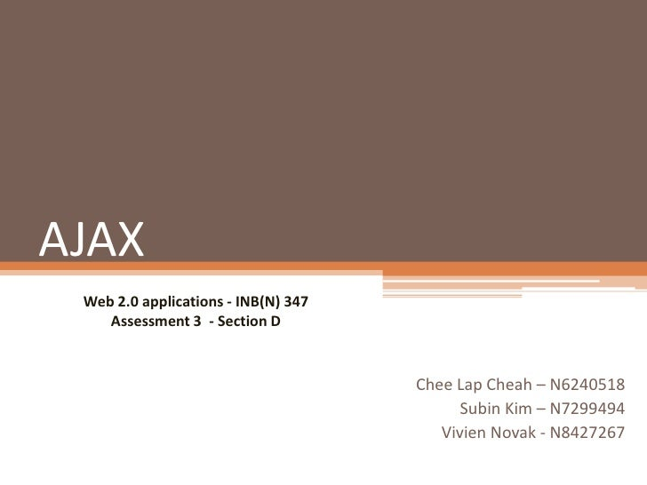 AJAX Web 2.0 applications - INB(N) 347    Assessment 3 - Section D                                     Chee Lap Cheah – N6...