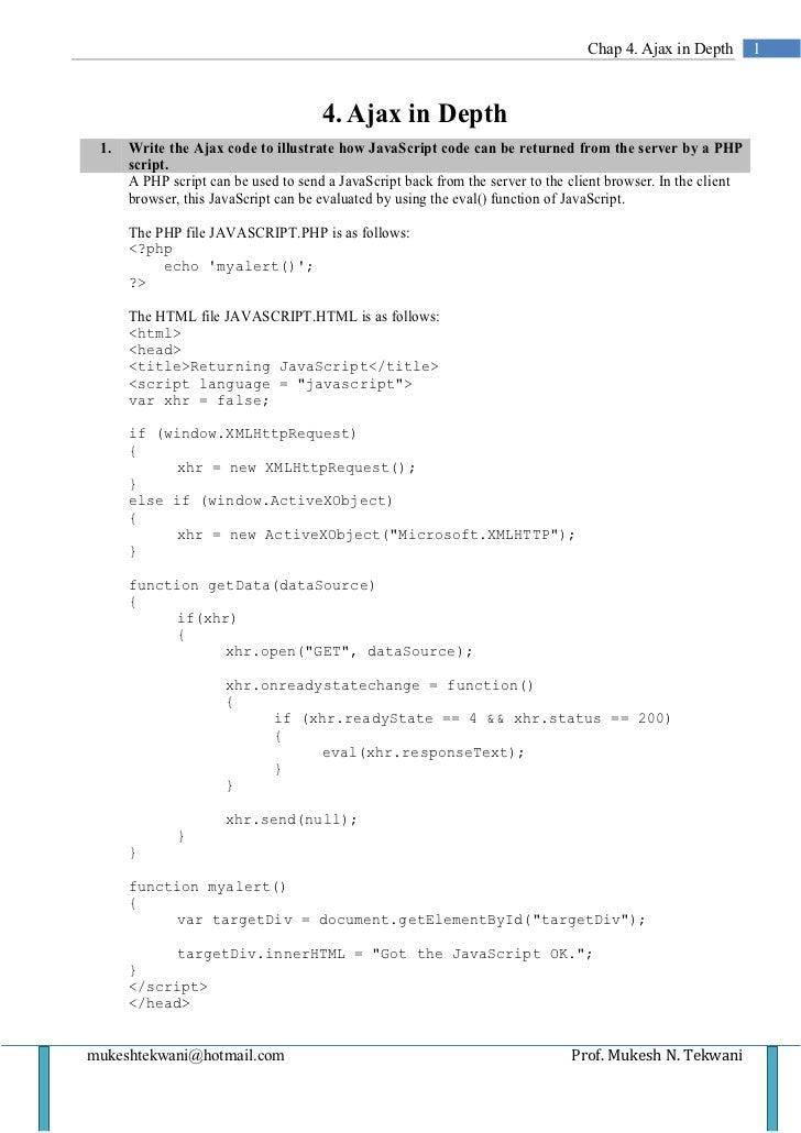 Chap 4. Ajax in Depth         1                                      4. Ajax in Depth 1.   Write the Ajax code to illustra...