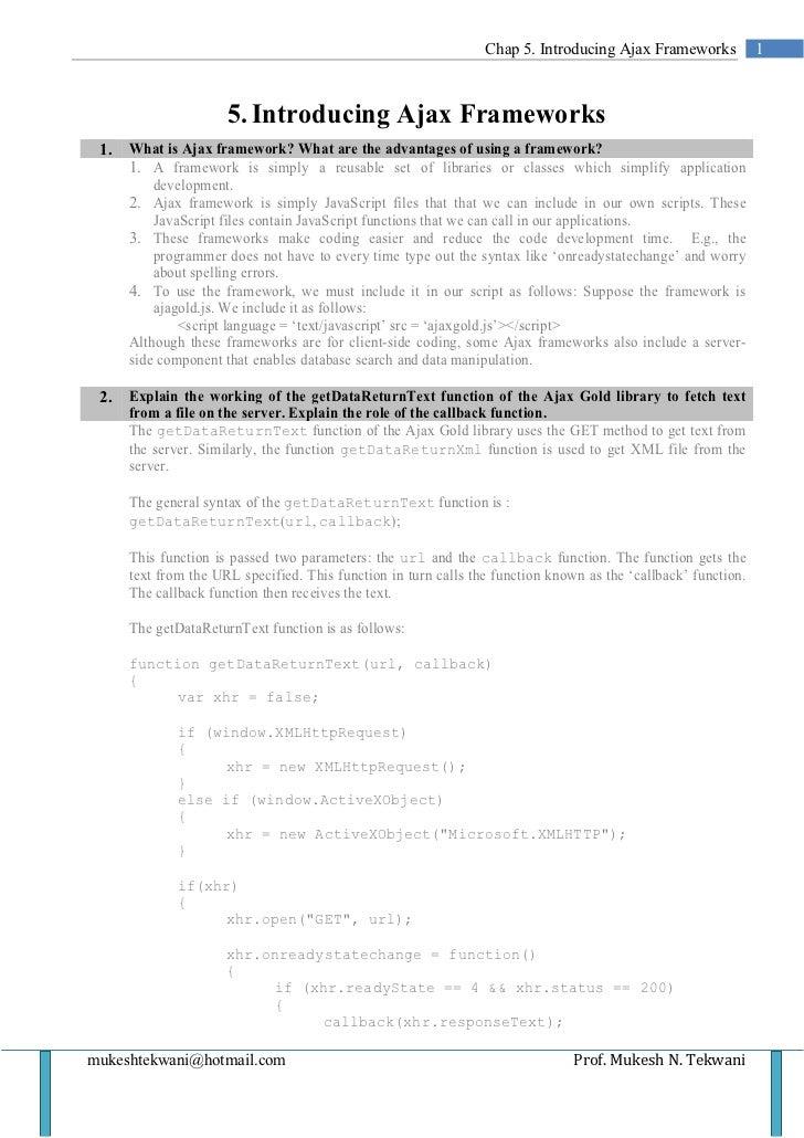 Chap 5. Introducing Ajax Frameworks            1                      5. Introducing Ajax Frameworks 1.   What is Ajax fra...