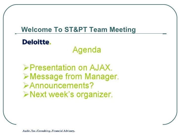 Welcome To ST&PT Team Meeting