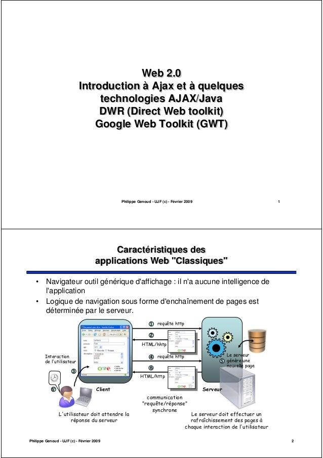 Philippe Genoud - UJF (c) - Février 2009 1 Web 2.0 Introduction à Ajax et à quelques technologies AJAX/Java DWR (Direct We...
