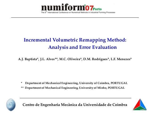 Incremental Volumetric Remapping Method - Analysis and Error Evaluation