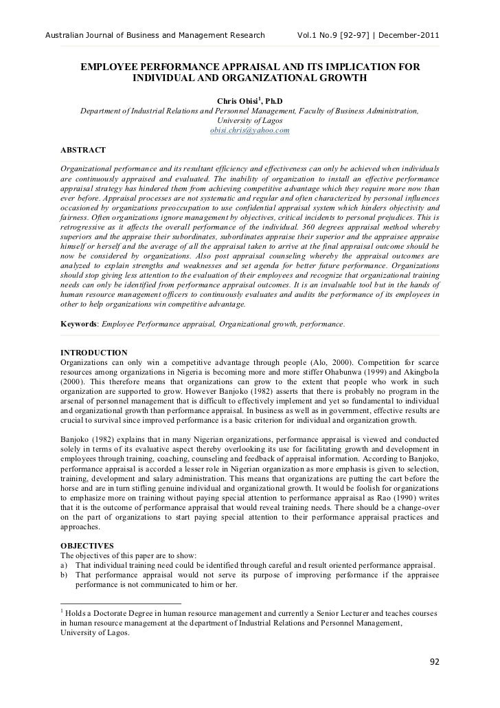 Australian Journal of Business and Management Research                    Vol.1 No.9 [92-97] | December-2011        EMPLOY...