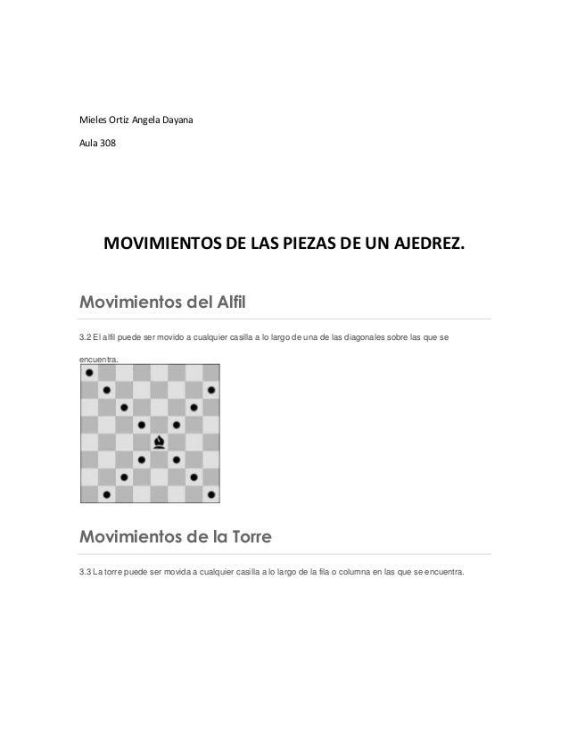 Mieles Ortiz Angela Dayana Aula 308 MOVIMIENTOS DE LAS PIEZAS DE UN AJEDREZ. Movimientos del Alfil 3.2 El alfil puede ser ...