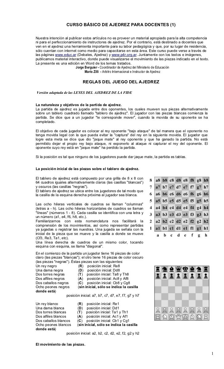CURSO BÁSICO DE AJEDREZ PARA DOCENTES (1)Nuestra intención al publicar estos artículos no es proveer un material apropiado...