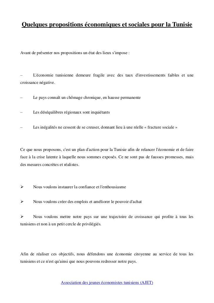 Quelques propositions économiques et sociales pour la TunisieAvant de présenter nos propositions un état des lieux simpose...