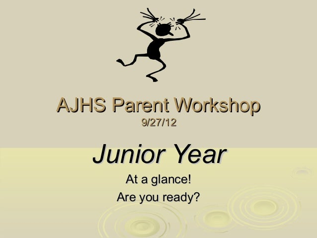 AJHS Parent Workshop         9/27/12   Junior Year      At a glance!     Are you ready?