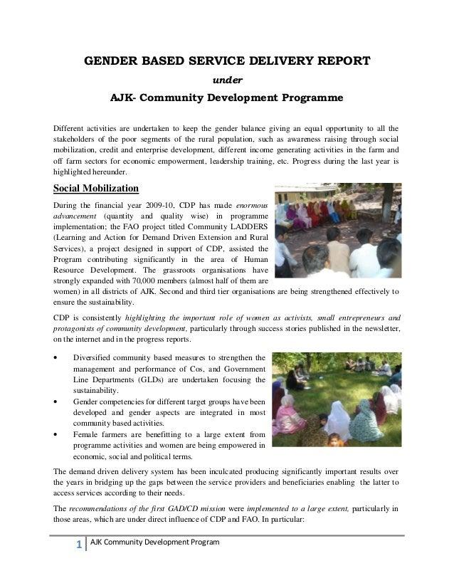 1 AJK Community Development Program GENDER BASED SERVICE DELIVERY REPORT under AJK- Community Development Programme Differ...
