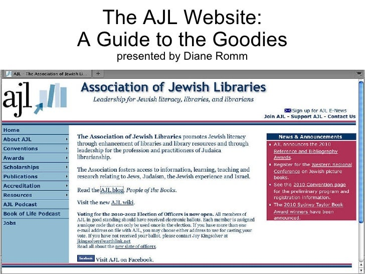 The AJL Website: A Guide to the Goodies presented by Diane Romm