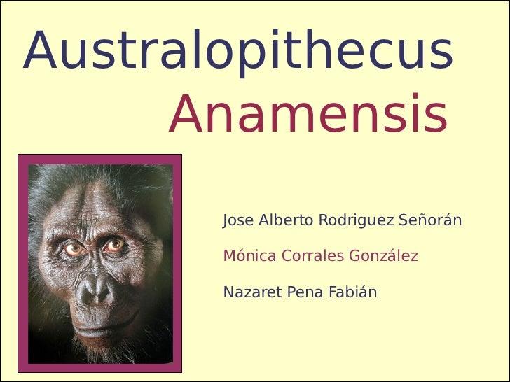 Anamensis Australopithecus Jose Alberto Rodriguez Señorán Mónica Corrales González Nazaret Pena Fabián
