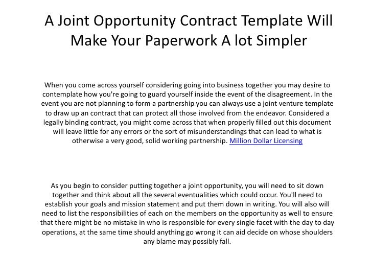 A joint opportunity contract template will make your for Joint will template free