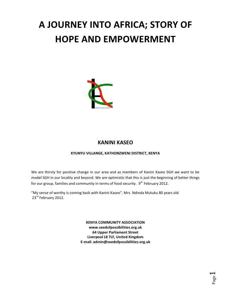 A JOURNEY INTO AFRICA; STORY OF        HOPE AND EMPOWERMENT                                         KANINI KASEO          ...