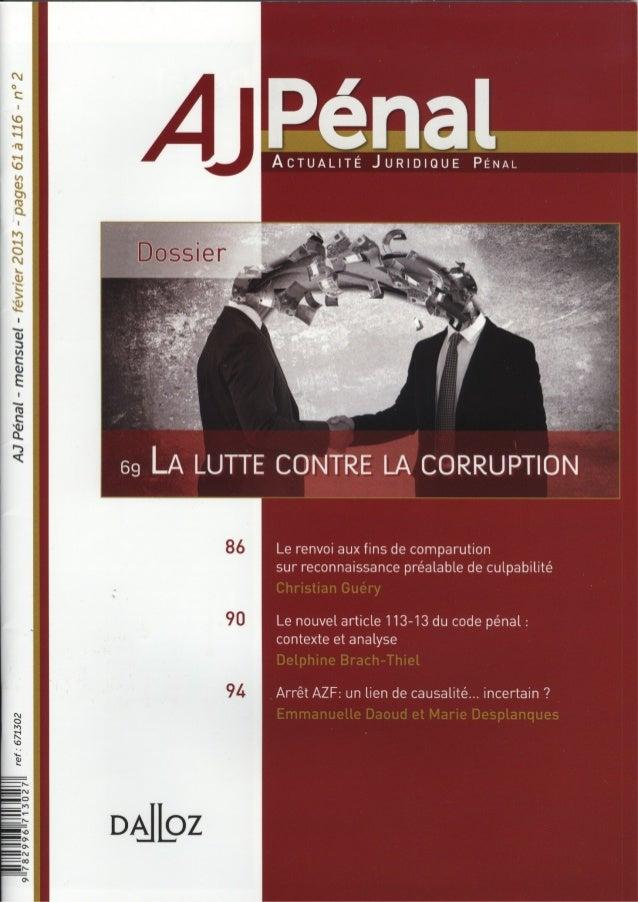 Prévention de la corruption dans l'entrepise - numéro spécial AJ PENAL du 2 Mars 2013 - André JACQUEMET
