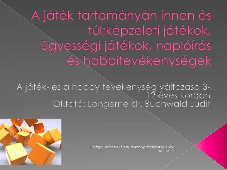 Szilágyi István neveléstudományi mesterszak 1. évf.                                        2012. 06. 19.