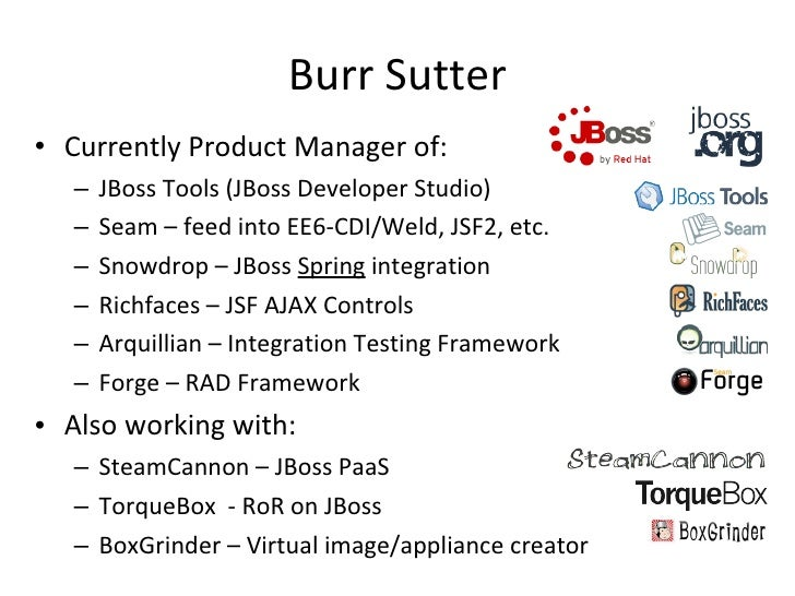 Burr Sutter <ul><li>Currently Product Manager of: </li></ul><ul><ul><li>JBoss Tools (JBoss Developer Studio) </li></ul></u...