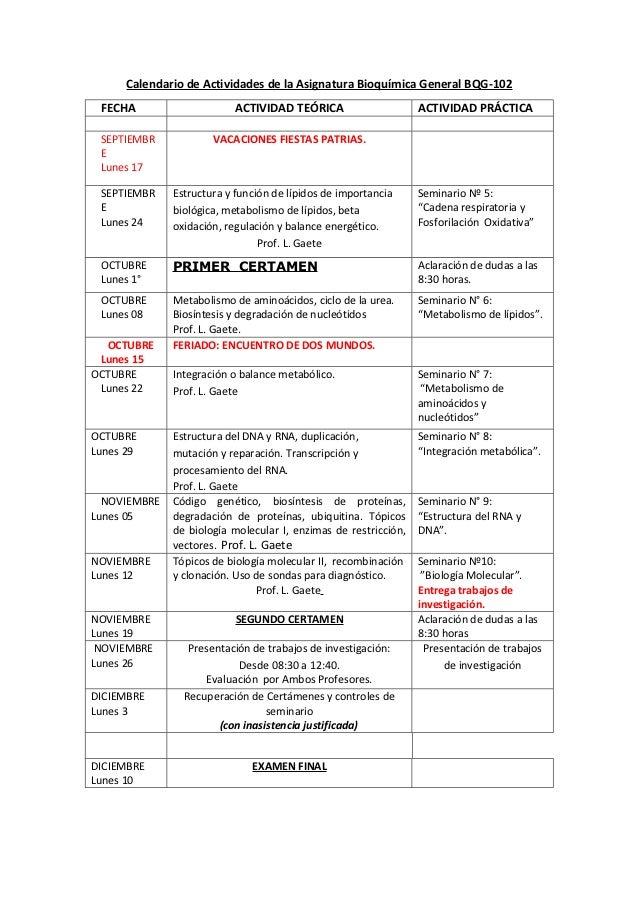 Calendario de Actividades de la Asignatura Bioquímica General BQG-102 FECHA                     ACTIVIDAD TEÓRICA         ...
