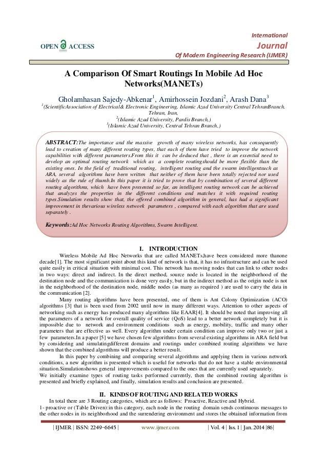International OPEN  Journal  ACCESS  Of Modern Engineering Research (IJMER)  A Comparison Of Smart Routings In Mobile Ad H...