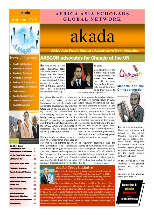 AASGON advocates for Change at the UN Business Name June-August '11akada News of Interest:  Health & Education  Economy ...