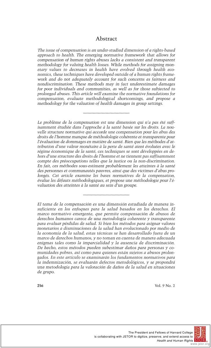AbstractThe issue of compensation is an under-studieddimension of a rights-basedapproach to health. The emerging normative...