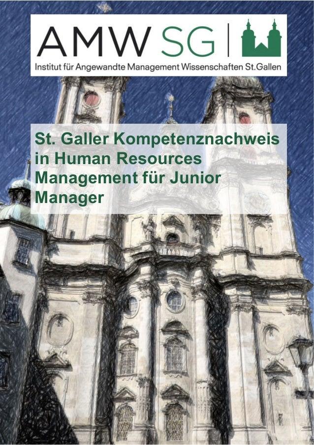 St. Galler Kompetenznachweis  in Human Resources  Management für Junior  Manager