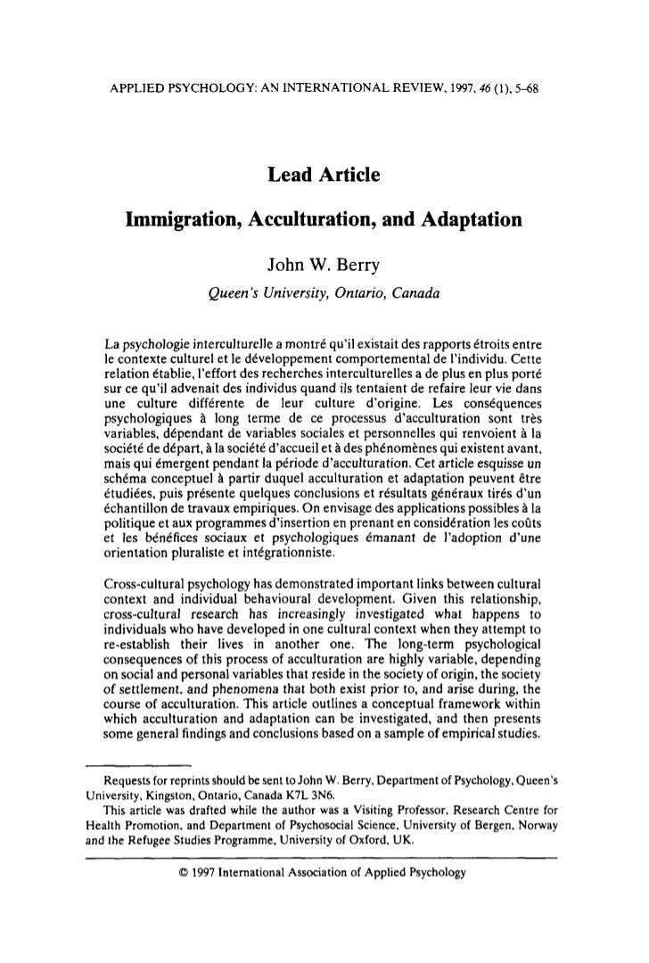APPLIED PSYCHOLOGY: AN INTERNATIONAL REVIEW, 1997.46 (1). 5-68                                   Lead Article       Immigr...