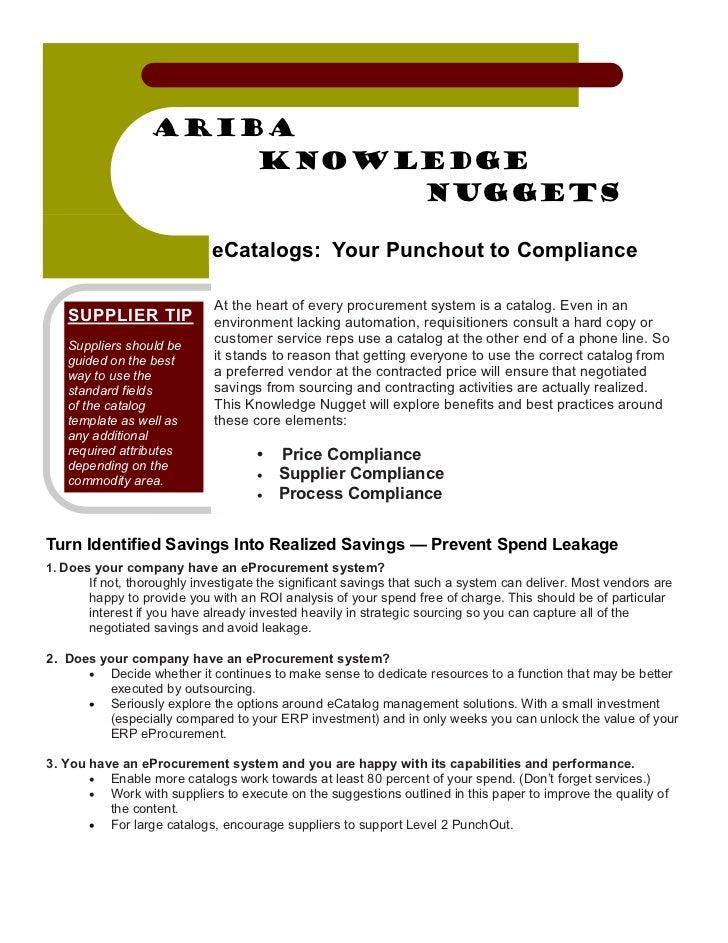 Ariba Knowledge Nuggets: eCatalogs - Turning Identified Savings into Realized Savings