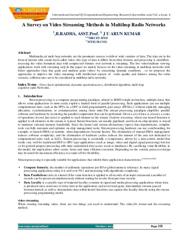 I nternational Journal Of Computational Engineering Research (ijceronline.com) Vol. 2 Issue. 6     A Survey on Video Strea...
