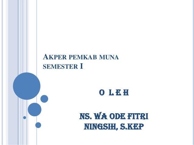 AKPER PEMKAB MUNA SEMESTER I  O LEH Ns. Wa Ode Fitri Ningsih, S.Kep