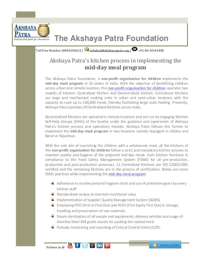 Akshaya patra's kitchen process in implementing the mid day meal program