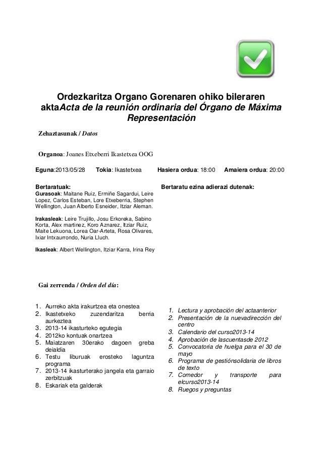 Ordezkaritza Organo Gorenaren ohiko bileraren aktaActa de la reunión ordinaria del Órgano de Máxima Representación Zehazta...