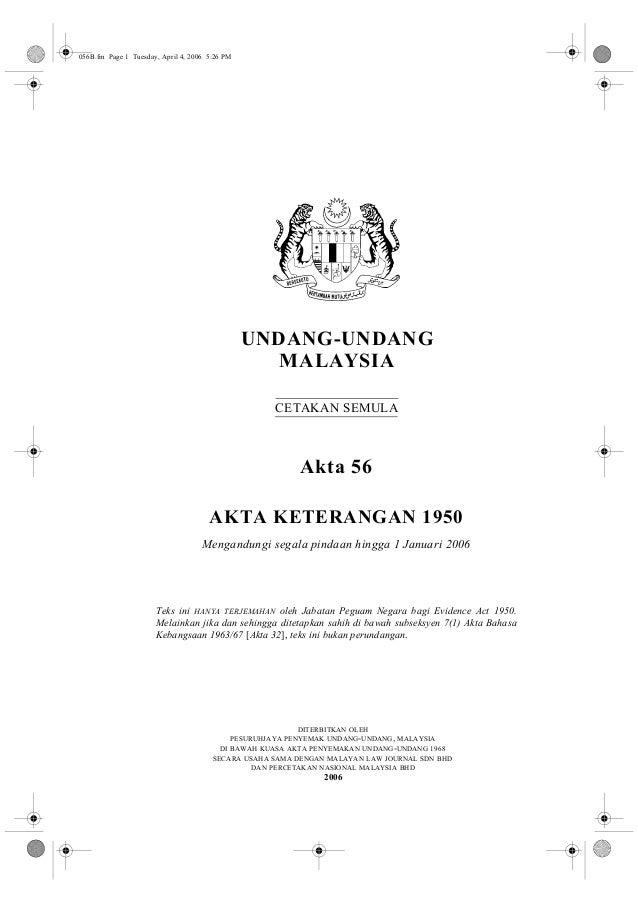 Akta keterangan 1950 / Evidence Act
