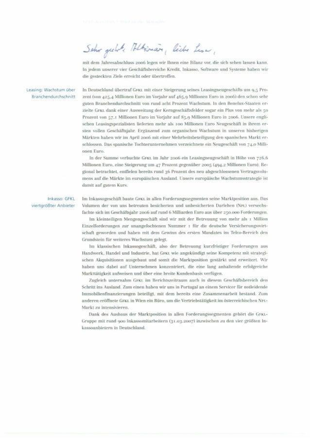 Aktionärsbrief 2006 der GFKL Financial Services AG