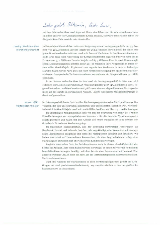 Aktionärsbrief der GFKL Financial Services AG von Dr. Peter Jänsch 2006