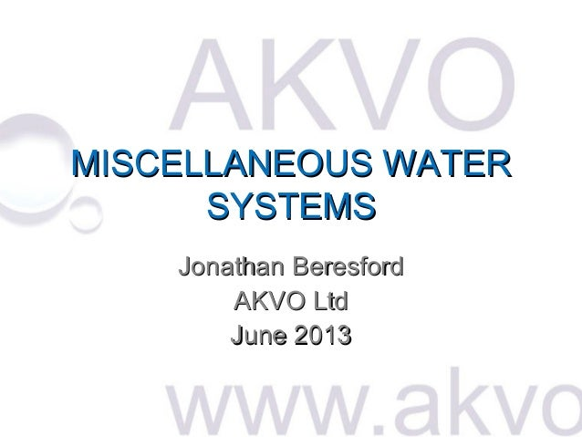 Akvo - miscellaneous water systems