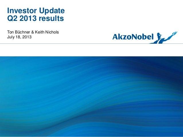 Investor Update Q2 2013 results Ton Büchner & Keith Nichols July 18, 2013