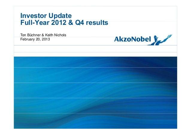 Investor UpdateFull Year 2012 & Q4 resultsFull-Year 2012 & Q4 resultsTon Büchner & Keith NicholsFebruary 20, 2013