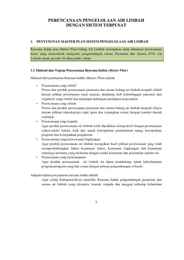 Perencanaan pengelolaan air limbah dengan sistem terpusat